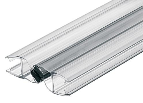 Aquasys Magnetdichtung für Glastüren 180° 8-10 mm 2000 mm Kunststoff