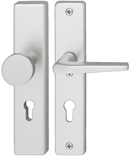 Häfele Sicherheitsgarnitur DIN-NORM PZ 92 Schutzbeschlag Drücker/Knopf Modell A91.12 Aluminium silbe