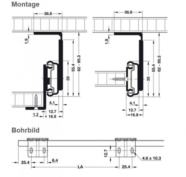 Häfele Schubladenschiene Teilauszug Accuride 2109 Tragkraft bis 34 kg Stahl seitliche Montage