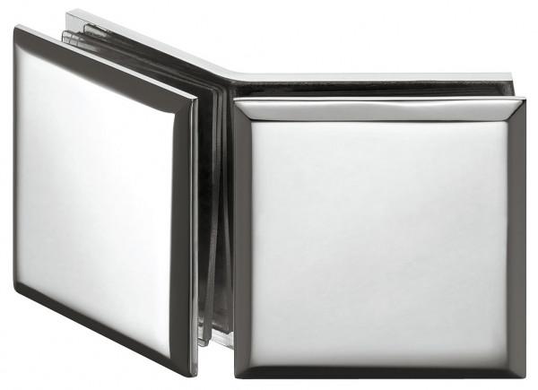 Häfele Glashalter H2228 für 135° Glasfront Messing chrom poliert