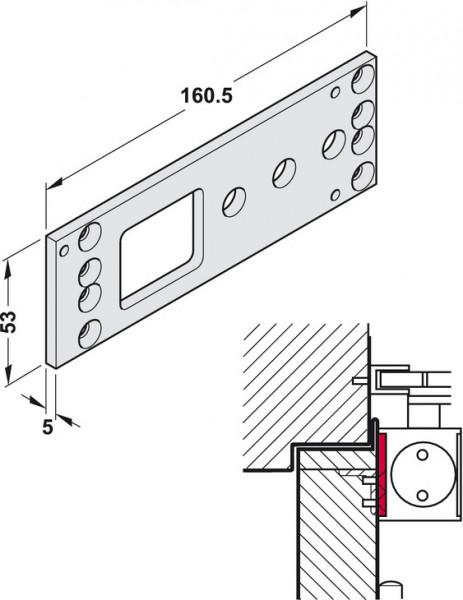 Geze Montageplatte TS 2000 für Türschließer silberfarben