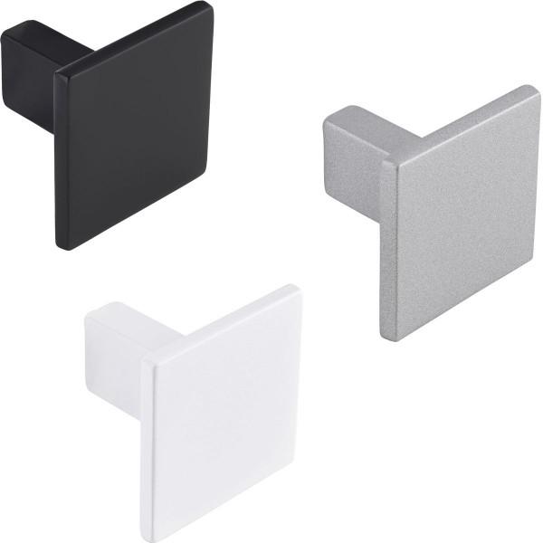 Möbelknopf ROCK aus Metall eckig 28 x 28 mm