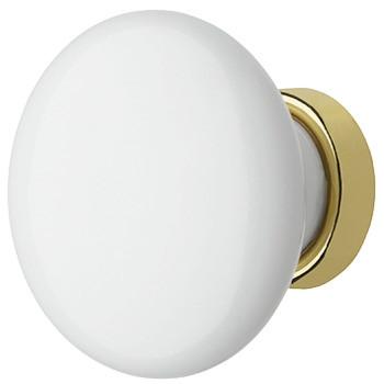 Häfele Möbelknopf H2027 Porzellanknopf weiß - goldfarben