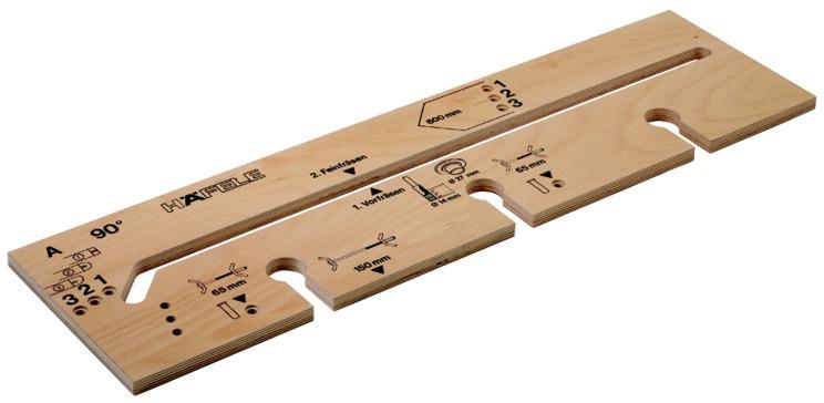Häfele Frässchablone für Arbeitsplattenverbinder Montage im Winkel 90° bzw. 135 °