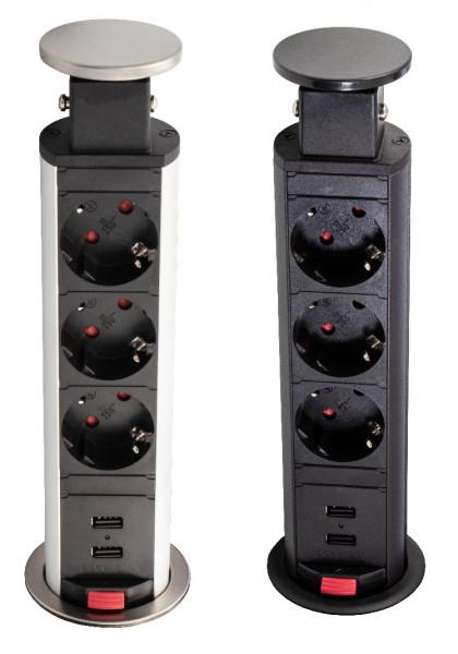 Steckdosen-Element Liftbox Steckdosenleiste Einbau-Steckdose 3 Schuko-Steckdosen und 2 USB-Anschlüss