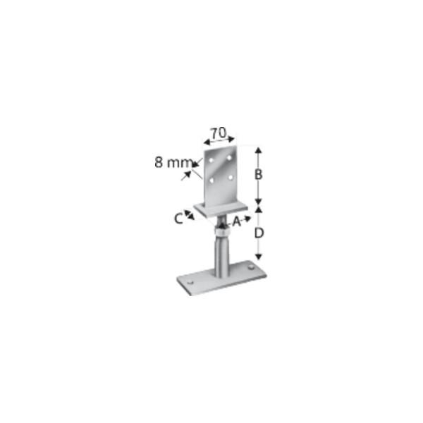 Simpson Stützenfuss Type PVIBG-B höhenverstellbar feuerverzinkt mit Zulassung