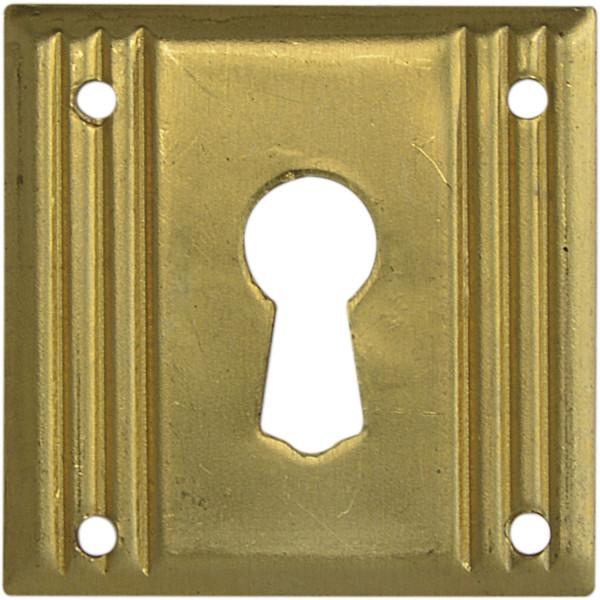 Schlüsselschild Landhausstil messing roh Möbelschild klein quadratisch