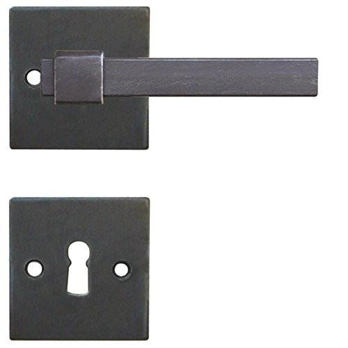 Galbusera Drückergarnitur Türbeschlag Modell LINZ Rosettengarnitur Antik eckig schwarz