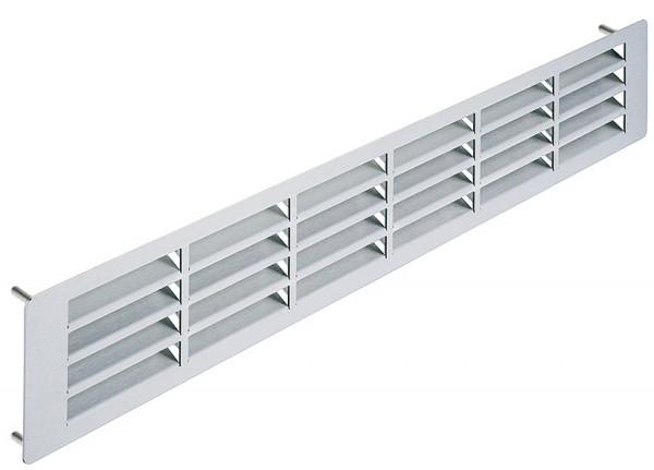Häfele Lüftungsgitter H3641 eckig 500x100 mm Edelstahl mit Arretierstiften