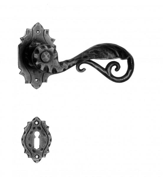 Galbusera Türbeschlag Türgriff Schmiedeeisen Modell TRIEST PZ Rosettengarnitur schwarz Antik