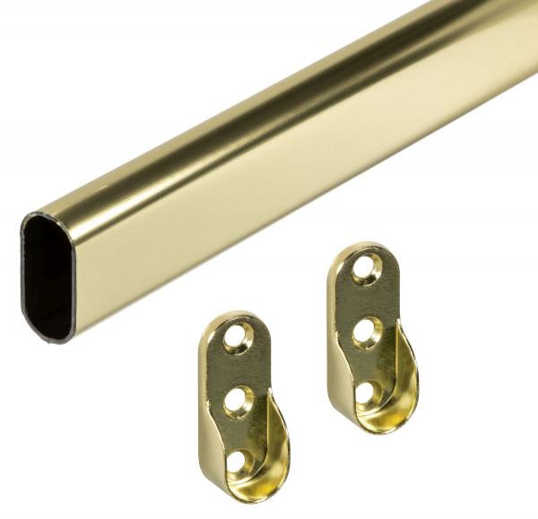 Schrankrohr GOLDI aus Stahl Messing oval 30 x 15 mm