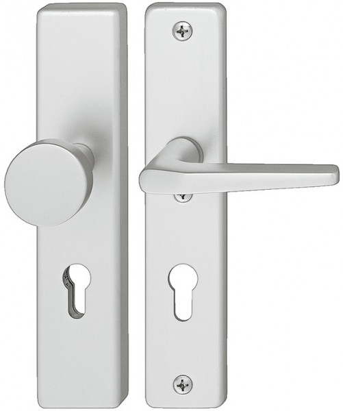 Häfele Sicherheitsgarnitur DIN-NORM PZ 72 Schutzbeschlag Drücker/Knopf Modell A91.12 Aluminium silbe