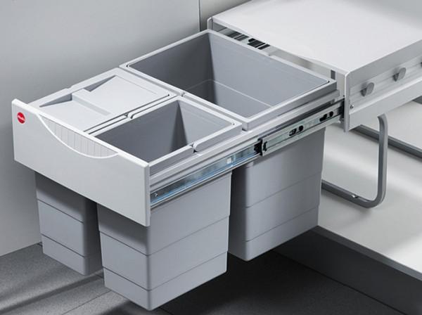 Hailo Dreifach-Abfallsammler Raumspar Tandem 3642-13 Mülleimer 1 x 18 & 2 x 8 Liter