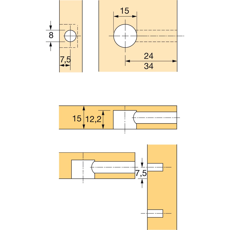 HETTICH RASTEX 15 Exzenter ohne Abdeckrand 16 Plattenst Bohr ø15