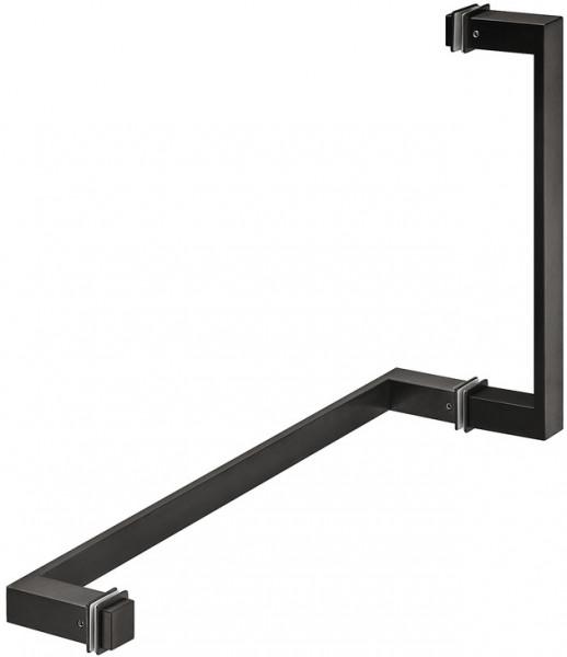 Häfele Duschtürgriff & Handtuchstange H8590 Messing graphit-schwarz eckig