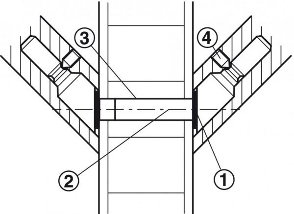 Häfele Montageset Holz für paarweise Befestigung schräge Stützen (45°) für Türgriffe Modell PH 1122