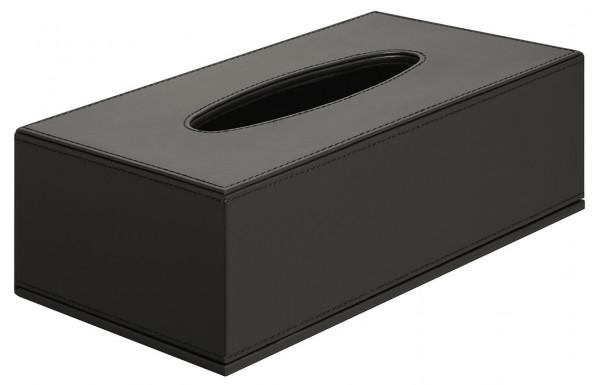 Kosmetiktuchspender OLGA aus Kunstleder schwarz mit Magnetverschluss