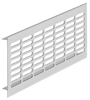 Häfele Lüftungsgitter H3627 eckig Aluminium silberfarben mit glatten Stegen