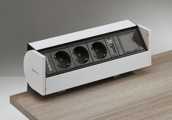 Häfele Steckdosen-Element zum Klemmen für Schreibtische oder Konferenztische