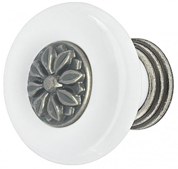 Häfele Möbelknopf H2023 Porzellanknauf weiß mit Sockel und Einlage verzinnt antik