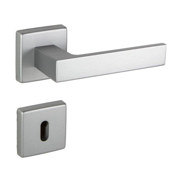 Drückergarnitur PUSH aus Aluminium silber