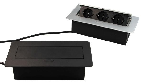 Steckdosen-Element Kombibox DL10006 Einbau-Steckdose mit Klappdeckel 3 Schuko-Steckdosen