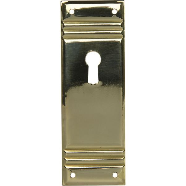 Schlüsselschild Landhausstil messing geprägt Möbelschild groß stehend 96 x 33 mm