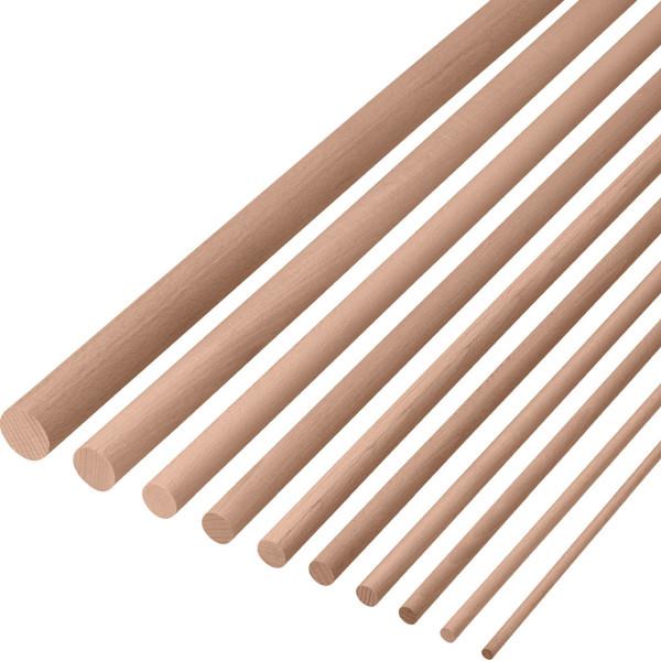 Bastelstäbe aus Buchenholz rund Länge: 2000 mm Ø 16 - 30 mm