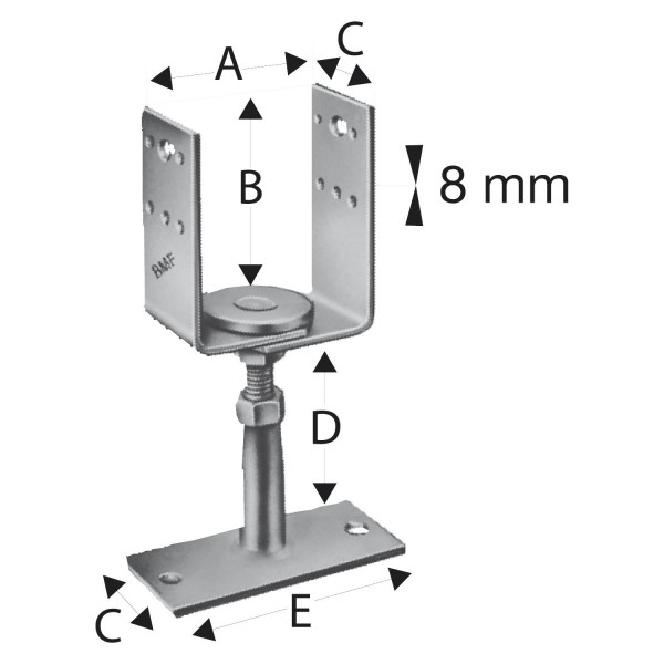 Simpson Stützenfuss Type PVDB 80G-B / PVDB 120G-B höhenverstellbar feuerverzinkt mit Zulassung