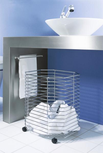 Kesseböhmer Wäschekorb fahrbar Stahl verchromt