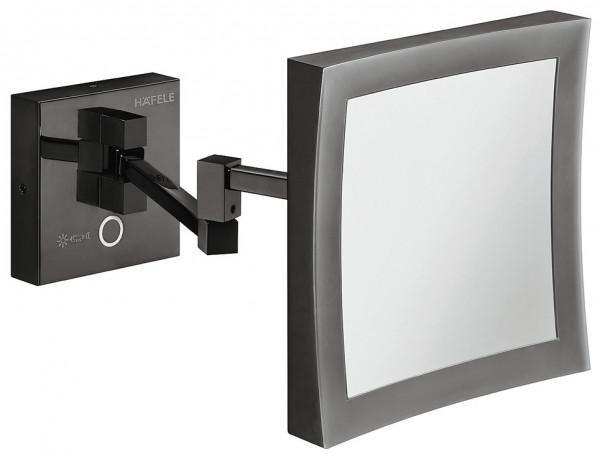 Häfele Kosmetikspiegel H1050 Messing graphit-schwarz quadratisch