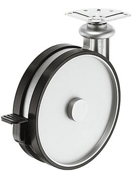 Häfele Design-Möbelrolle H4823 Tragkraft 80 kg lenkbar Anschraubplatte oder Gewindstift M10