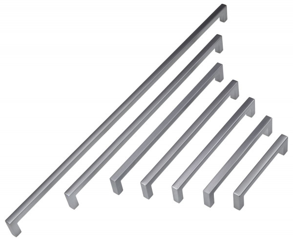 Möbelgriff HALI aus Metall chrom matt, BA 96 - 448 mm