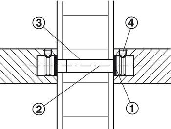 Häfele Montageset Holz für paarweise Befestigung gerade Stützen für Türgriffe Modell PH 1121