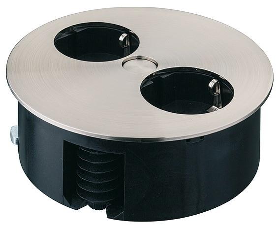 Häfele Steckdosen-Element 230 V drehbar 2-fach Steckdose Edelstahl Optik