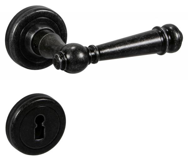Drückergarnitur SILVRETTA-R aus Schmiedeeisen schwarz antik
