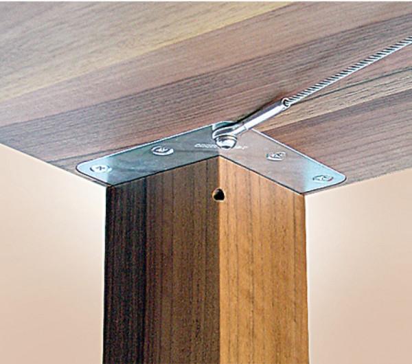 Häfele Tischbeinbefestigung unter der Tischplatte für massive Tischbeine zentrisch