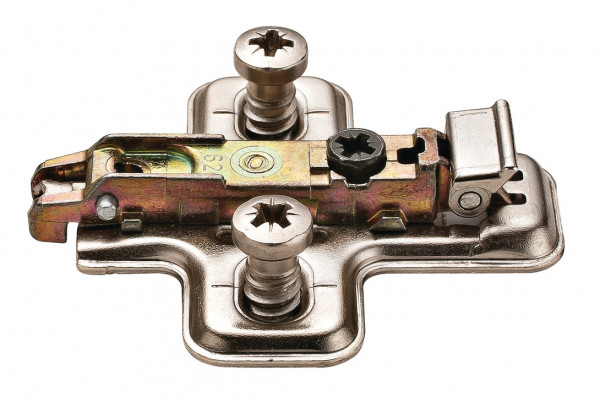 Häfele Kreuzmontageplatte Duomatic SM zum Schrauben mit vormontierten Euroschrauben