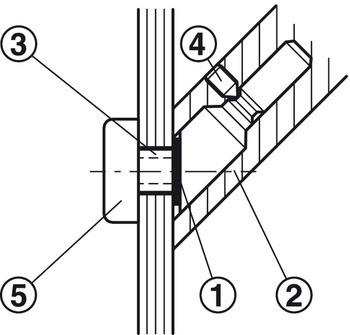 Häfele Montageset Glas für einseitige oder paarweise Befestigung schräge Stützen (45°) für Türgriffe