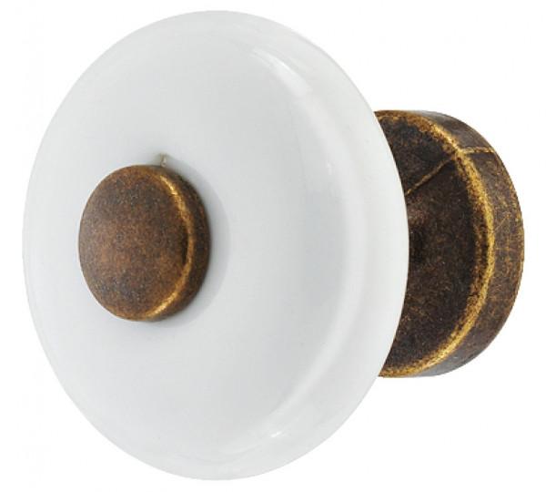 Häfele Möbelknopf H2006 weiß Porzellanknauf rund mit Sockel und Einlage braun durchgerieben