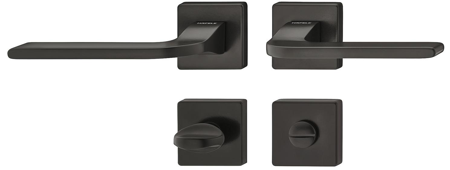 Türbeschläge Zimmertür Klinkengarnitur tief-schwarz mit Rosetten für Innentür