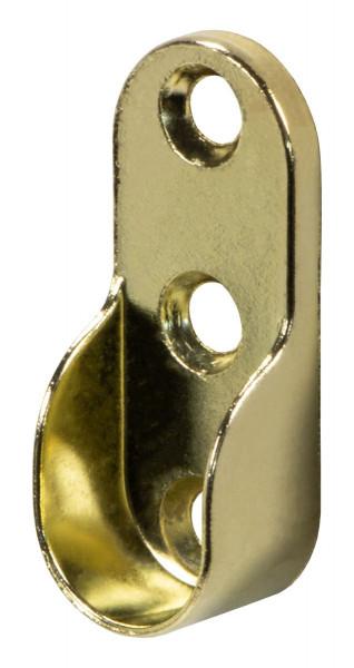 Schrankrohrlager oval vermessingt für ovale Schrankstangen 30 x 15 mm Metall