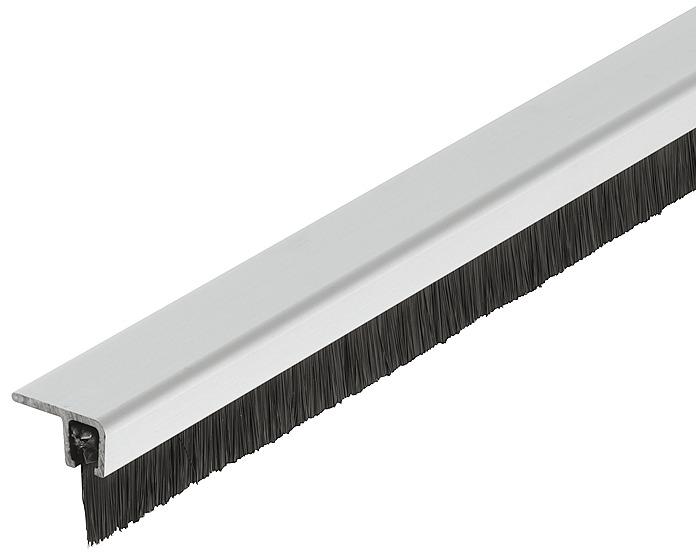 Bürstendichtung mit dichtem Besatz zum Unterschrauben aus Aluminium mit PP Bürste schwarz