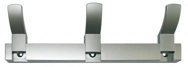 Häfele Hakenleiste H3819 Wandgarderobe Kunststoff silber mit 3 Haken