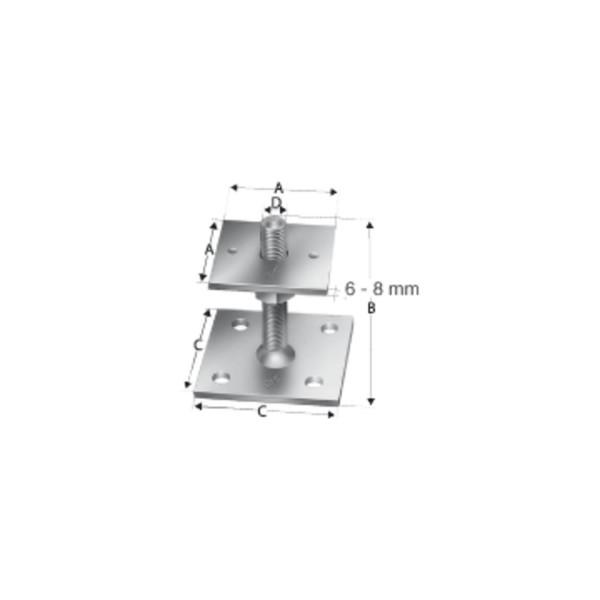 Simpson Stützenfuss Type PPB 70G / PPB 75G / PPB 80G-B höhenverstellbar feuerverzinkt mit Zulassung