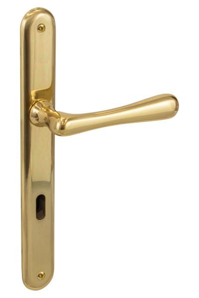 Türdrücker auf Langschild Elegant Messing poliert DIN 72 Türbeschlag