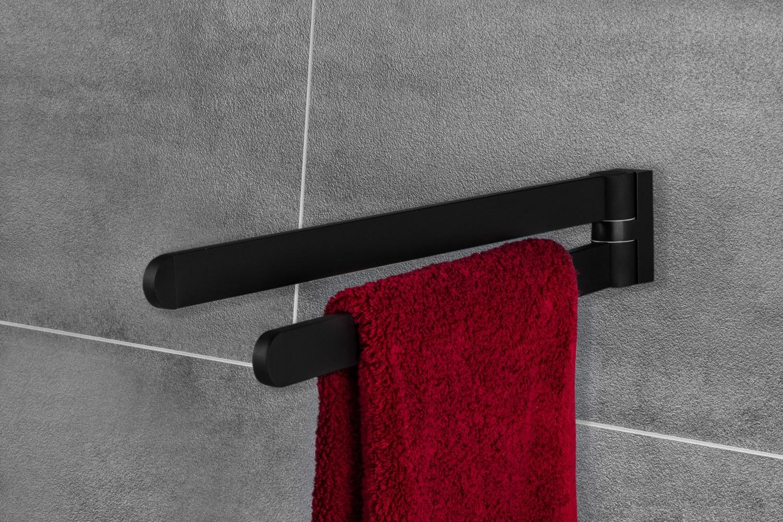 Handtuchhalter OCEAN Handtuchstange schwenkbar schwarz 400 mm