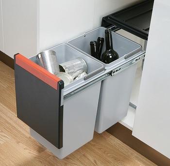 Franke Doppel-Abfallsammler Cube 30 2x15 Liter Kunststoff grau