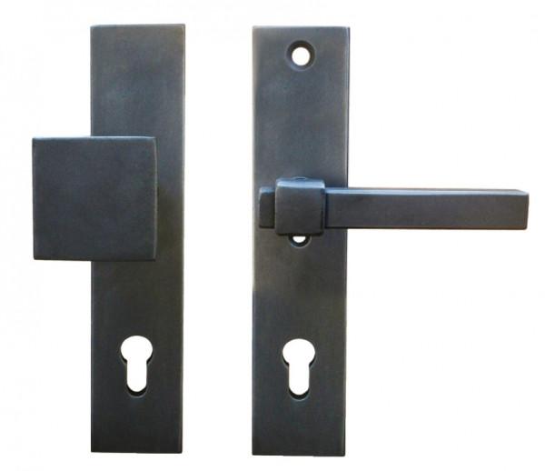 Galbusera Sicherheitsgarnitur LINZ Türdrücker auf Langschild antik schwarz verzinkt