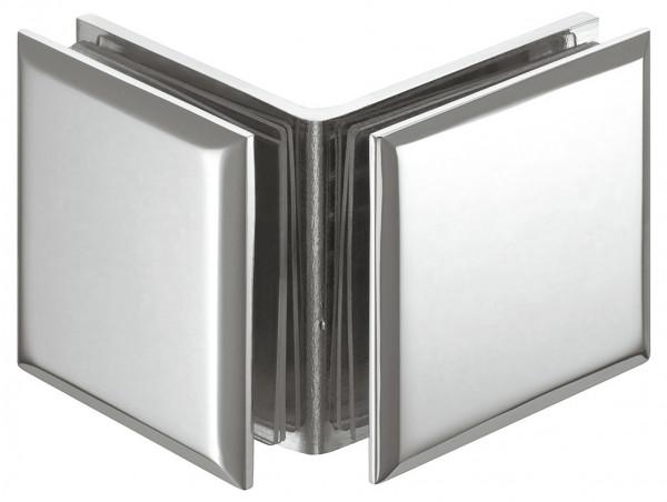 Häfele Glashalter H2229 für 90° Glasfront Messing chrom poliert